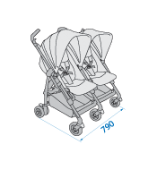 Dana For2 Twin Stroller Dimensions: 790mm wide