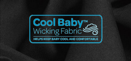 Cool baby wicking fabric helps keep baby cool