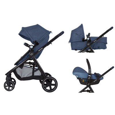 Maxi-Cosi Zelia stroller can converted into a travel system with 2 easy clicks.
